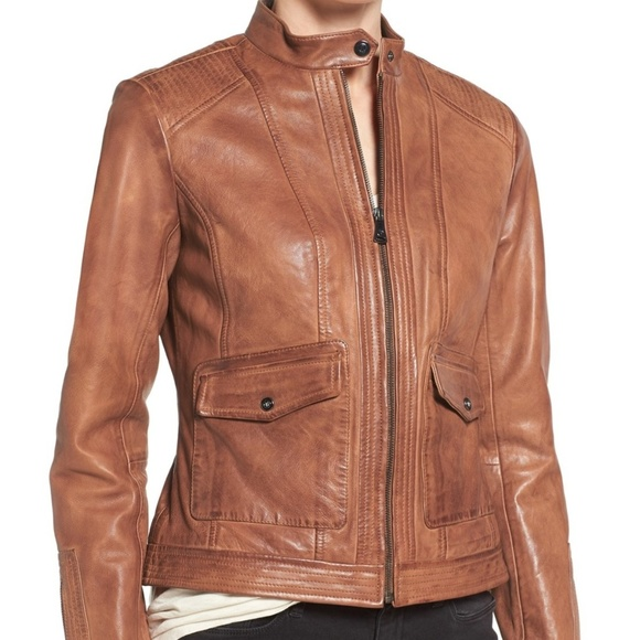 cbfdbad020f57 Bernardo Jackets   Blazers - Women s Sheep Kerwin Leather Jacket Brown